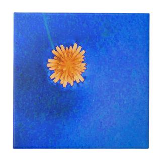 Flor anaranjada solitaria azulejos cerámicos