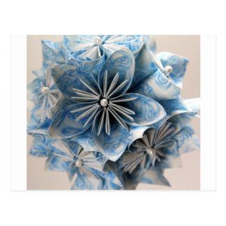 Flor azul de Kusudama Origami Postal