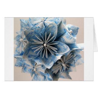 Flor azul de Kusudama Origami Felicitaciones