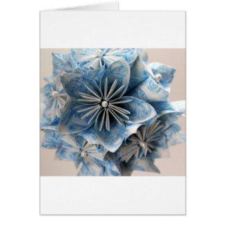 Flor azul de Kusudama Origami Tarjetón