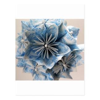 Flor azul de Kusudama Origami Tarjeta Postal