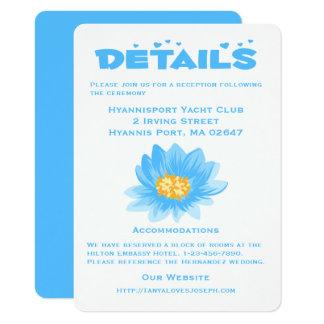 Flor azul del boda de la turquesa de los detalles invitación 11,4 x 15,8 cm