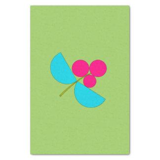 Flor azul y rosada grande en verde papel de seda