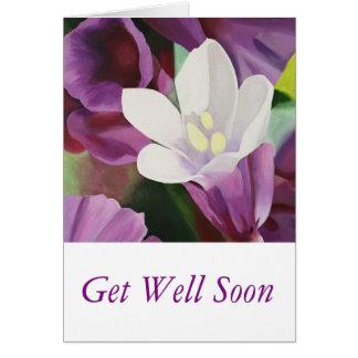 Flor blanca bonita - consiga bien pronto tarjeta de felicitación