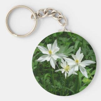 flor blanca de la montaña llavero redondo tipo chapa