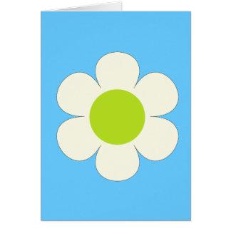 Flor blanca en diseño azul, bonito tarjeta pequeña