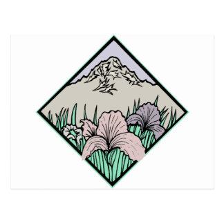 Flor bonita con la montaña postal