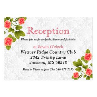 Flor color de rosa coralina bonita - recepción tarjetas de visita grandes
