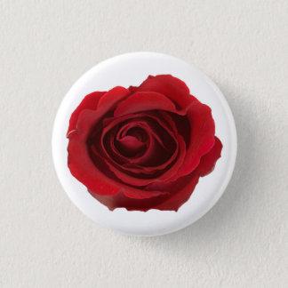 Flor color de rosa fotográfica roja chapa redonda de 2,5 cm