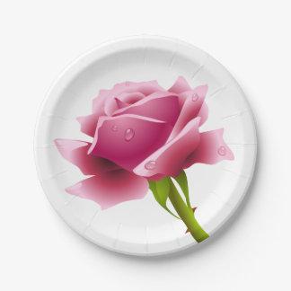 Flor color de rosa rosada floral - boda/fiesta plato de papel