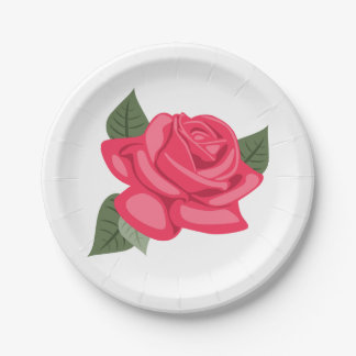 Flor color de rosa rosada floral - boda, fiesta plato de papel