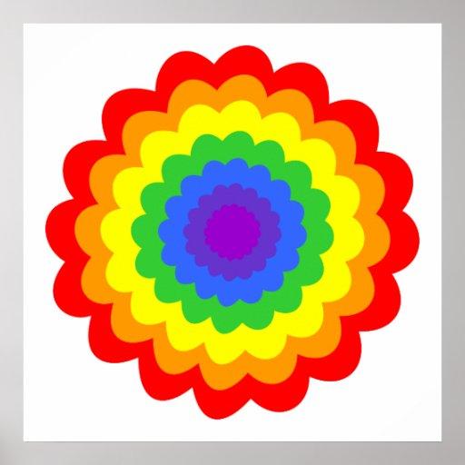 Flor colorida brillante en colores del arco iris impresiones