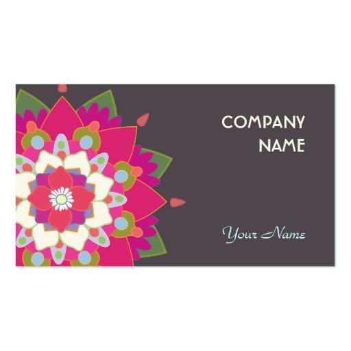Flor colorida de la mandala de Lotus linda Tarjeta De Visita