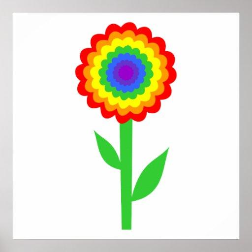 Flor colorida en colores del arco iris posters