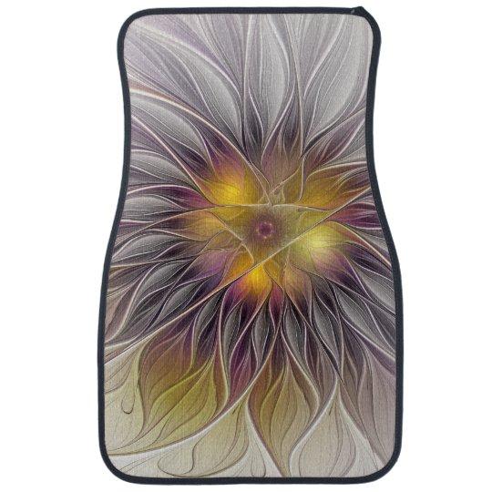 Flor colorida luminosa, fractal moderno abstracto alfombrilla de coche