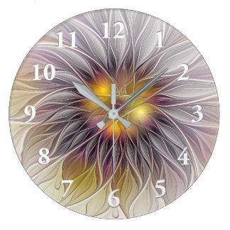 Flor colorida luminosa, fractal moderno abstracto reloj redondo grande
