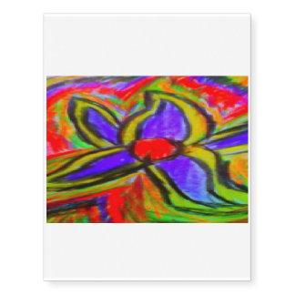 flor colorida tatuajes temporales