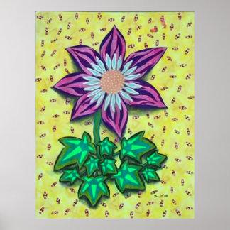 Flor con el fondo amarillo póster