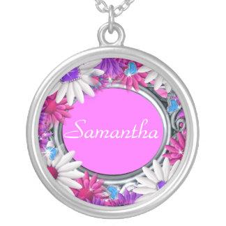 Flor conocida femenina rosada bling joyerías