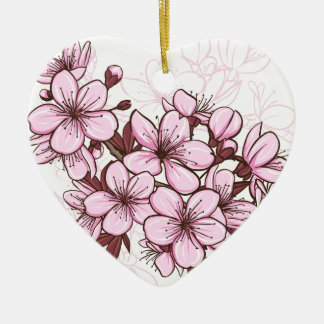 Flor de cerezo adorno de cerámica en forma de corazón