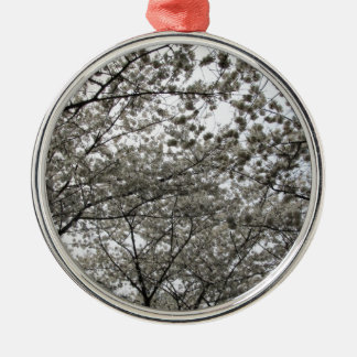 Flor de cerezo adorno redondo plateado