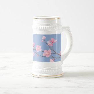 Flor de cerezo - azul de la serenidad jarra de cerveza