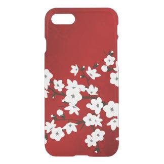 Flor de cerezo blanca roja floral bonita funda para iPhone 7