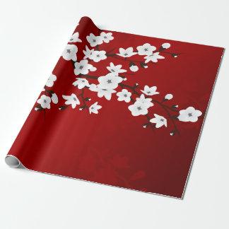 Flor de cerezo blanco y negro roja papel de regalo
