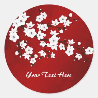 Flor de cerezo blanco y negro roja pegatina redonda