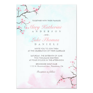 Flor de cerezo de la acuarela de la invitación el