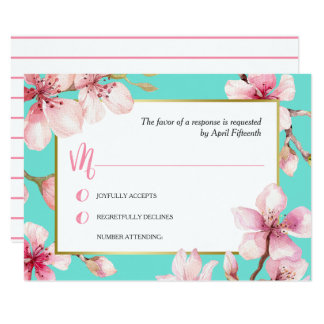 Flor de cerezo de la acuarela que casa RSVP Invitación 8,9 X 12,7 Cm