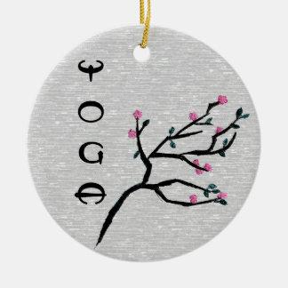 Flor de cerezo - decoración de la yoga adorno navideño redondo de cerámica