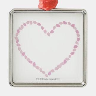 Flor de cerezo en forma de corazón adorno navideño cuadrado de metal