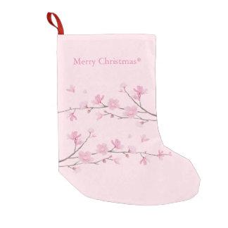 Flor de cerezo - fondo transparente calcetín navideño pequeño