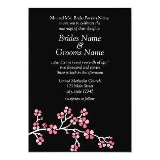 Flor de cerezo negra 5x7 que se casa elegante invitación 12,7 x 17,8 cm