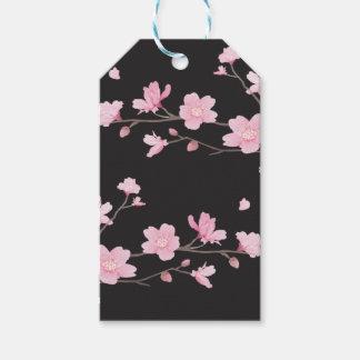 Flor de cerezo - negro etiquetas para regalos
