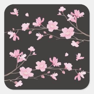 Flor de cerezo - negro pegatina cuadrada