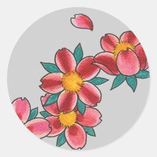 flor de cerezo pegatinas redondas