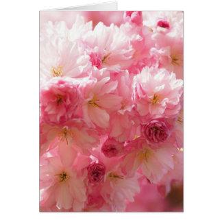 Flor de cerezo rosada tarjeta de felicitación