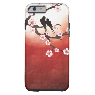 Flor de cerezo Sakura y pájaros del amor Funda De iPhone 6 Tough