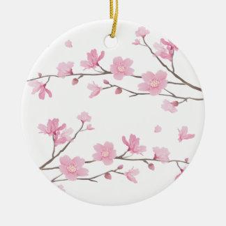 Flor de cerezo - Transparente-Fondo Adorno Navideño Redondo De Cerámica