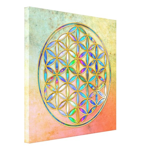 Flor de DES Lebens - oro de la vida/de Blume color Impresión En Lona