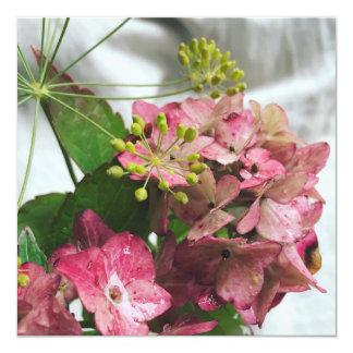 Flor de hortensia encuentra en lluvia y eneldo invitación 13,3 cm x 13,3cm