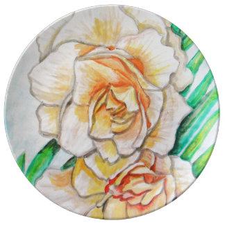 Flor de la gloria plato de porcelana
