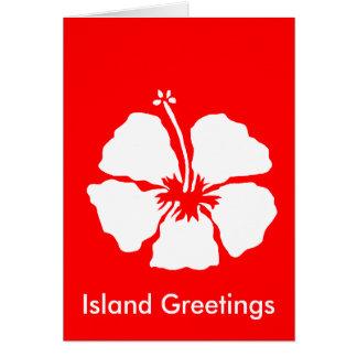 Flor de la hawaiana del estilo del hibisco felicitaciones