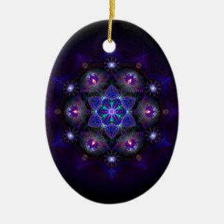 Flor de la mandala de la vida adorno navideño ovalado de cerámica
