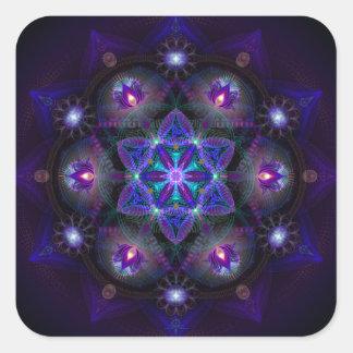 Flor de la mandala de la vida pegatina cuadrada