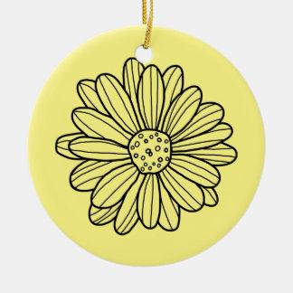 Flor de la margarita adorno de cerámica