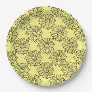 Flor de la margarita plato de papel
