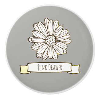 Flor de la margarita pomo de cerámica